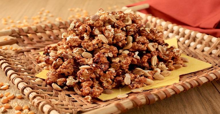 Experimente essa inovação! Pipoca crocante com amendoim